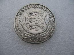 """ESTLAND Estonia Estonie 1930 Silbermünze Silver Minting Error """"Long 1"""" !! RAR - Estonie"""