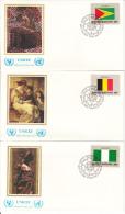 United Nation New York Set Of 16 Unaddressed FDCs 1982 Flag Series Scott #374-#389 - Enveloppes