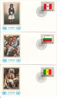 United Nation New York Set Of 16 Unaddressed FDCs 1983 Flag Series Scott #399-#414 - Enveloppes