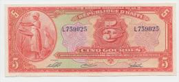 "Haiti 5 Gourdes Prefix Letter ""L"" RARE UNC - Haiti"