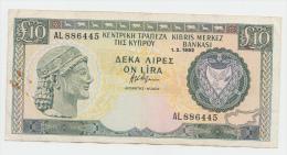 Cyprus 10 Pounds 1992 VF Crisp Banknote P 55b  55 B - Chypre