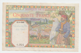 Algeria 50 Francs 1940 VF++ Crispy Banknote P 84 - Algeria