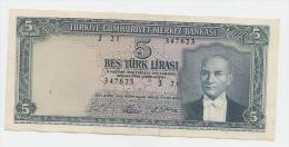 Turkey 5 Lira Series 1930 (1965) AXF Banknote P 174 - Turchia