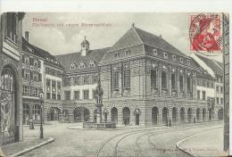 SWITZERLAND 1912– POSTCARD – BASEL : FISCHMARKT MIT NEUEM BORSENGEBAUDE NOT SHINING – ANIMATED  ADDR TO FRANCE W 1 ST OF - BS Bâle-Ville