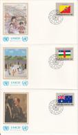 United Nation New York Set Of 16 Unaddressed FDCs 1984 Flag Series Scott #425-#440 - Enveloppes