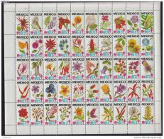 RA)1973 MEXICO, MEXICAN FLOWERS FULLSHEET MNH TB SEALS TUBERCULOSIS, MNH - Mexico