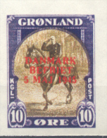 GRONLAND GROENLAND GROENLANDIA AÑO 1945 LIBERACION DE DINAMARCA YVERT NR. 18D NON DENTELE???? MNH RARE - Unclassified