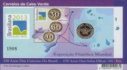 cv1303 Cabo Verde 2013 Brasiliana EX SOS stamp on Stamp s/s