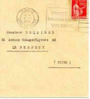 TYPE PAIX N°283  CACHET PARIS  GARE DE L'EST OBLITEREE FLAMME CIGARE DIPLOMATE - 1932-39 Peace