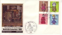 FDC  571 - 74  Wohlfahrtsmarken 1968,  Puppen - FDC: Briefe