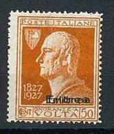ERITREA - N° 121b - VOLTA - 50 CENT.  DOPPIA SOPRASTAMPA - VARIETA´  CONOSCIUTA NUOVO TRACCIA DI LINGUELLA - Eritrea
