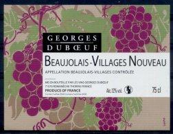 THEME PLANTES étiquette De Vin BEAUJOLAIS VILLAGES NOUVEAU / RAISIN Signé VAVRO - Feuilles