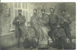 AURILLAC..CANTAL...CARTE-PHOTO...Campagne 1914....7soldats équipés , En Bon Plan - Aurillac