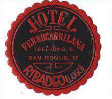 Hotel Ferrocarrilana/RIBADEO/ Lugo/Espagne/ Vers 1945-1955     EVM1 - Etiquettes D'hotels