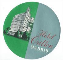 Hotel Crillon/MADRID/ Espagne/ Vers 1945-1955     EVM7 - Etiquettes D'hotels