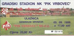 Match Ticket - Soccer - NK PIK Vrbovec Vs NK Marsonia, 5.9.1999., Croatia - Tickets D'entrée