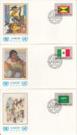 United Nation New York Set Of 16 Unaddressed FDCs 1985 Flag Series Scott #450-#466 - Enveloppes