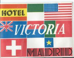 Hotel Victoria/MADRID/Espagne/ Vers 1945-1955     EVM11 - Hotel Labels