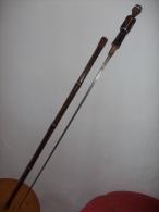 Canne Fleuret/ Bambou /recouvert  Peau Serpent/ - Armes Blanches
