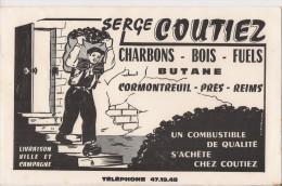 Buvard  -  Serge Coutiez - Charbons - Bois - Furls - Butane -  CORMONTREUIL Près Reims - - Buvards, Protège-cahiers Illustrés