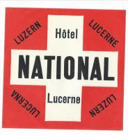 Hotel National/LUCERNE/Suisse/Vers 1945-55       EVM19 - Etiquettes D'hotels