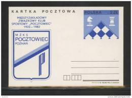 POLAND 1982 CHESS POCZTOWIEC SPORTS CLUB PRE-PRINTED POSTAL CARD (POSTAL STATIONERY) - Stamped Stationery