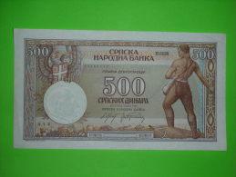 Yugoslavia Kingdom,Serbia,German Occupation WWII,500 Dinar 1942.,banknote,paper Money,bill,geld,vintage - Servië