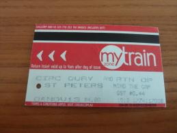 "Ticket De Transport (train) ""mytrain - ST PETERS"" NSW GOVERNMENT Sydney - AUSTRALIE - Monde"