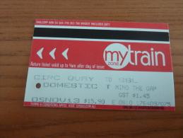"Ticket De Transport (train) ""mytrain - DOMESTIC"" NSW GOVERNMENT Sydney - AUSTRALIE - Monde"