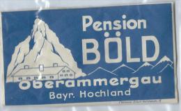 Pension Bold/OBERAMMERGAU/Baviére /ALLEMAGNE/Vers 1945-1955       EVM29 - Etiquettes D'hotels