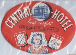 Central Hotel/ LIMOGES//France /Vers 1945-1955       EVM30 - Etiquettes D'hotels