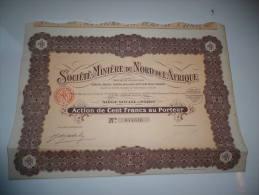 MINIERE DU NORD DE L'AFRIQUE (capital 4,7 Millions)  1927 - Actions & Titres
