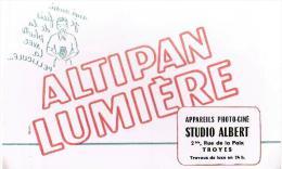 BUVARD : ALTIPAN LUMIERE - APPAREILS PHOTO-CINE STUDIO ALBERT à TROYES (Aube) - Cinéma & Théatre