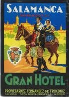 Gran Hotel/SALAMANCA Monumental/ Espagne/Vers 1945-1955       EVM40 - Etiquettes D'hotels