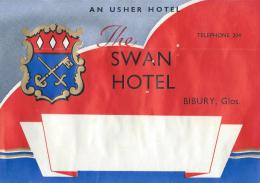 Swan Hotel/An Huster Hotel/BIBURY/Glos./Anglet ErreVers 1945-1955       EVM43 - Etiquettes D'hotels