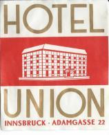 Hotel Union/ INNSBRUCK/Autriche/ Vers 1945-1955       EVM46 - Etiquettes D'hotels