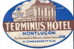 Terminus Hotel/MONTLUCON//Allier/F Rance/ Vers 1945-1955       EVM50 - Hotel Labels