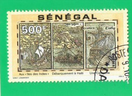 SENEGAL ,, MULTICOLOR ,, AUX ILES DES INDES ,,, DEBARQUEMENT A HAITI ,,UNE CARAVELLE **  500  F. **,, POSTE  1991 ,, TBE - Senegal (1960-...)