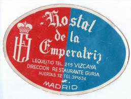 Hostal De La Emperatris/MADRID/Espagne Vers 1945-1955       EVM52 - Etiquettes D'hotels