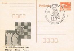 6157. Entero Postal ZITTAU (Alemania DDR) 1989, Ajedrez, Chess, Schach - Postales - Usados