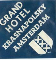 Grand Hotel Krasnapolsky/AMSTERDAM/Ho Llande/ Vers 1945-1955       EVM54 - Hotel Labels