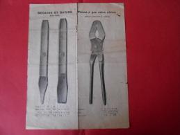 Catalogue Outillage  1920 Sté UNIS FRANCE PLC -  Acier Fondu   BEDANES Et BURINS - PINCES à GAZ Extra Plates - 1900 – 1949