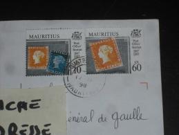 LETTRE MAURICE MAURITIUS AVEC YT 885 ET 888 SE TENANT - TIMBRE POST OFFICE - - Mauritius (1968-...)