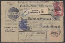 DR Paketkarte Mif Minr.87, 2x 91, 94 Düsseldorf-Gerresheim 25.11.16 Gel. In Türkei - Deutschland