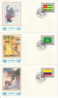 United Nation New York Set Of 16 Unaddressed FDCs 1986 Flag Series Scott #477-#492 - Enveloppes