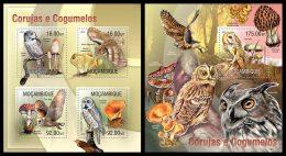 MOZAMBIQUE 2013 - Owls & Mushrooms M/S + S/S Official Issue - Pilze