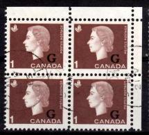 Canada 1963 1 Cent Cameo G Overprint Block Of 4  #O46 - Officials