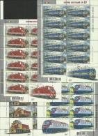 Ukraina 2010 / Locomotives / Set 4 MS With 11 Sets And Label - Trains