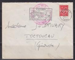 = Timbre Franchise Militaire Sur Lettre 7.12.59 Origine Castres Tampon Rouge 1er/2 RCP (à Vérifier), Flamme Castres - Franchise Stamps