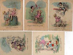 5  PETITS  DESSINS  AVEC  DES  ENFANTS  -   DESSINS ILLUSTRES  PAR  JYLBERT - Vieux Papiers
